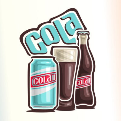Poster Vector l'illustrazione sul tema del logo per cola, composto da lattina con cola, tazza di vetro riempito con cola e una bottiglia di vetro chiusa di cola