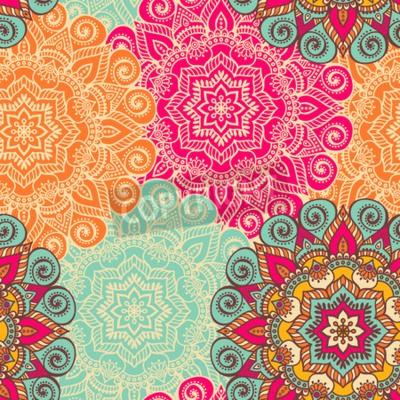 Poster Vector Mandala. ornamento rotondo in stile etnico. disegnare a mano