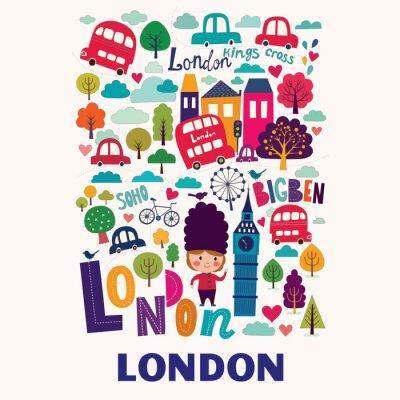 Poster Vector modello colorato con simboli di Londra