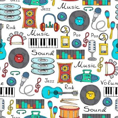 Poster Vector seamless con il simbolo disegnato a mano di musica