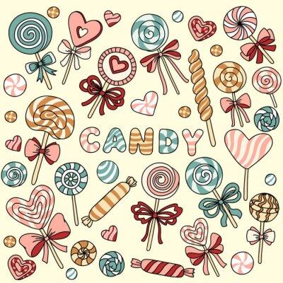 Poster Vector set con caramelle e lecca-lecca