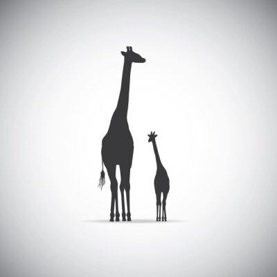 Poster Vector silhouette di giraffa madre con il suo bambino