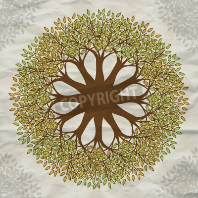 Poster Vector tree mandala background with grunge paper