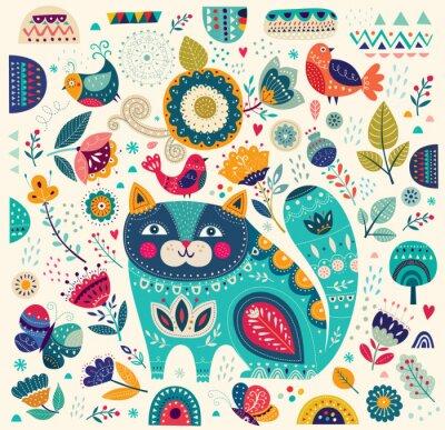 Poster Vector variopinta astratta con gatto belle, farfalle, uccelli e fiori