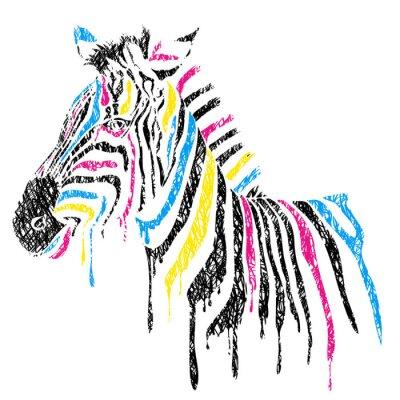 Poster Vector zebra a strisce colorate, stile schizzo