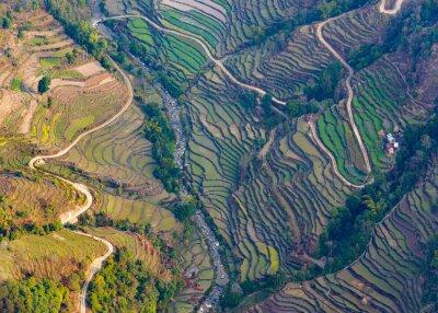 Poster Veduta aerea di risaie vicino a Pokhara