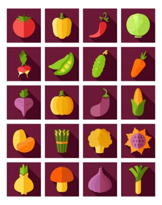 Poster Vegetable flat icon with long shadow