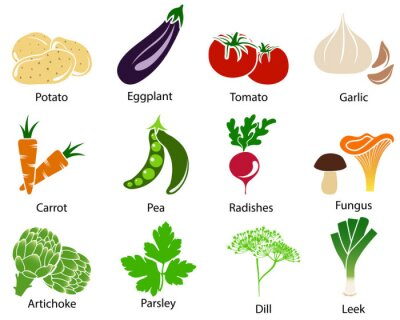 Poster Vegetable Icons With Title