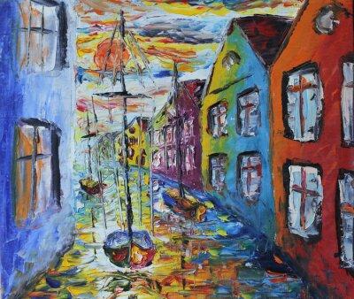 Poster Venezia barca galleggiante nelle strade, pittura ad olio