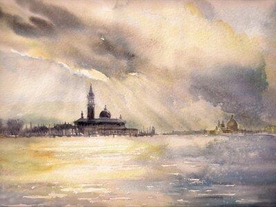 Poster Venezia, Italia al sunset.Picture creato con gli acquerelli.