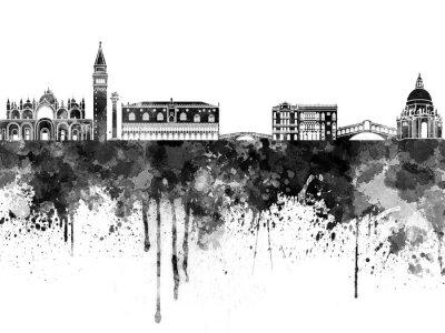 Poster Venezia skyline in acquerello nero