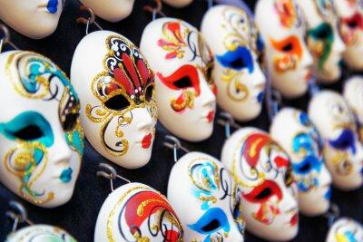 Poster Veneziano maschere facciali per il Carnevale in negozio, Venezia, Italia