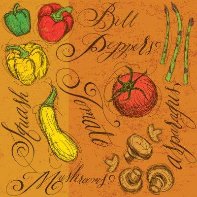 Poster Verdure crude con calligrafia