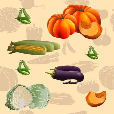 Poster verdure modello senza soluzione di continuità: mais, zucca