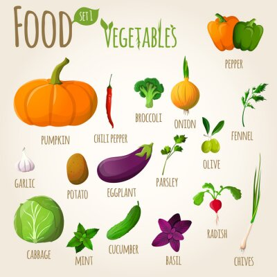 Poster Verdure set alimentari