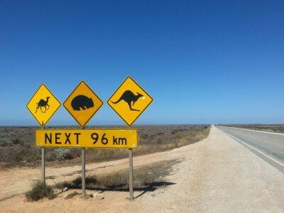 Poster Verkehrsschild successivo 96 km im Outback, Australia