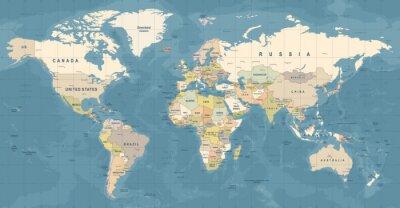 Poster Vettore di mappa del mondo. Illustrazione dettagliata della mappa del mondo