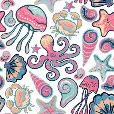 Poster Vettore disegnato a mano seamless con meduse, conchiglie, stelle marine, polpi e granchi. Ocean sfondo