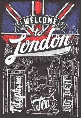 Poster Vettore gesso grande bandiera britannica e londra