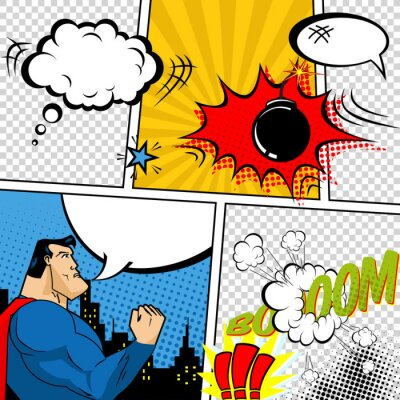 Poster Vettore Retro Comic Book Speech Bubbles illustrazione.