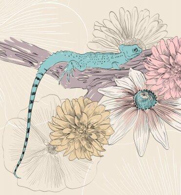 Poster vettore schizzo di lucertola con fiori carino