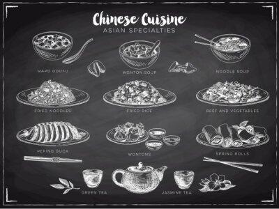 Poster Vettoriale disegnata a mano illustrazione con cibo cinese.
