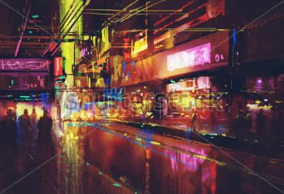 Poster via della città con illuminazione e vita notturna, pittura digitale