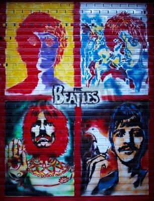 Poster Via I Beatles muro di graffiti a Mosca, Stroitelei