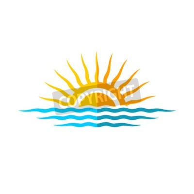 Poster Viaggi marchio della mascherina. Sun con le onde del mare.
