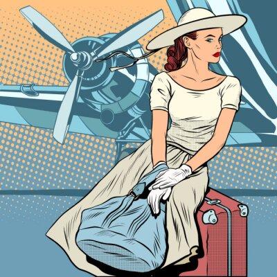 Poster viaggiatore Lady in aeroporto