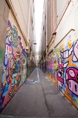 Poster Vicolo a Melbourne con molti graffiti del muro