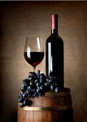 Poster Vino rosso con botte e uva