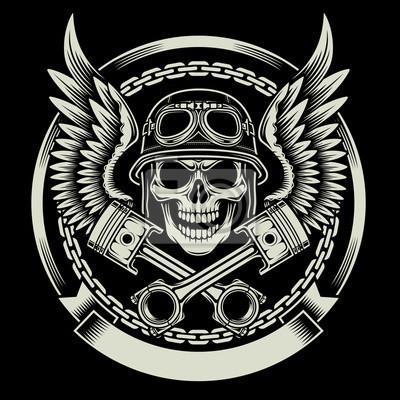 Poster Vintage Biker teschio con le ali e Pistoni emblema