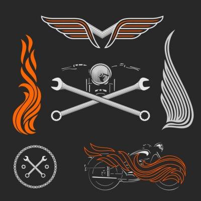 Poster Vintage loghi vettore di moto, emblemi, modelli, etichette, simboli ed elementi di design moto.