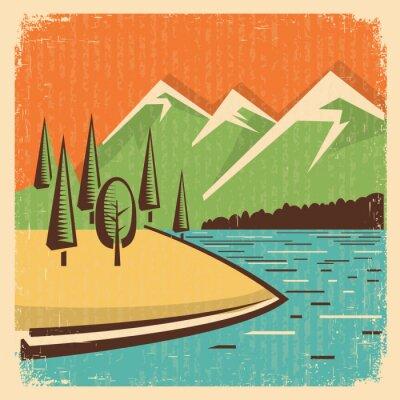 Poster Vintage montagne Natura paesaggio
