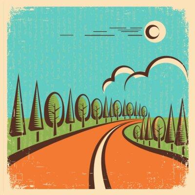 Poster Vintage Natura paesaggio con la strada