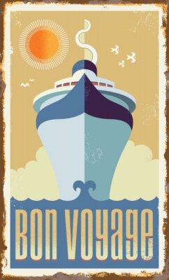 Poster Vintage nave da crociera retro disegno vettoriale - segno del metallo manifesto