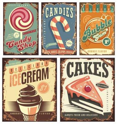 Poster Vintage negozio di caramelle raccolta di segni di latta