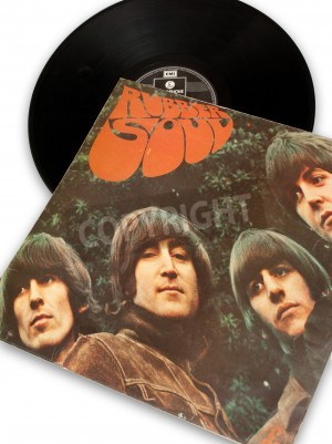 Poster vintage original vinyl record of rockstar beatles rubber soul