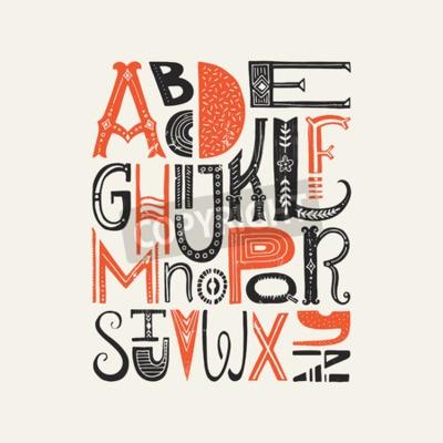 Poster vintage poster con uniche lettere dell'alfabeto latino. Carattere vettoriale o progettazione tipografia.