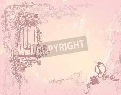 Poster vintage rose garden with open cage and bird - shabby chic freedom concept background with place for your text