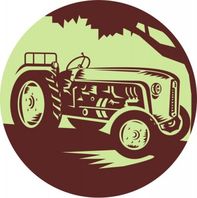 Poster Vintage Trattori agricoli Circle Xilografia