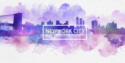 Poster Viola New York City Dreams cartolina pittura