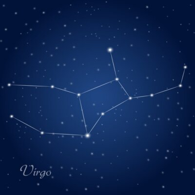 Poster Virgo constellation zodiac sign at starry night sky