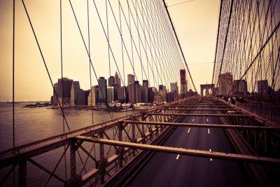 Poster Vista del distretto finanziario dal ponte di Brooklyn