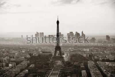 Poster Vista del tetto della città di Parigi con la torre Eiffel in bianco e nero.
