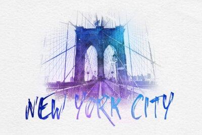 Poster Vista frontale del ponte di Brooklyn di New York con il testo
