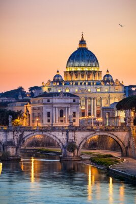 Poster Vista notturna della Basilica di San Pietro a Roma, Italia