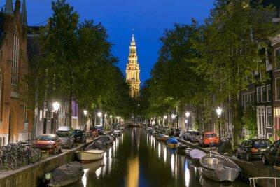 Poster Vista notturna di Zuiderkerk in Amsterdam