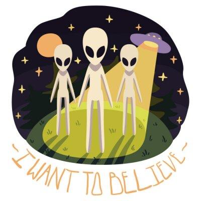 Poster Voglio credere vector poster (sfondo) con gli alieni sulla collina e UFO nella notte con la luna e le stelle completo (stile cartone animato)
